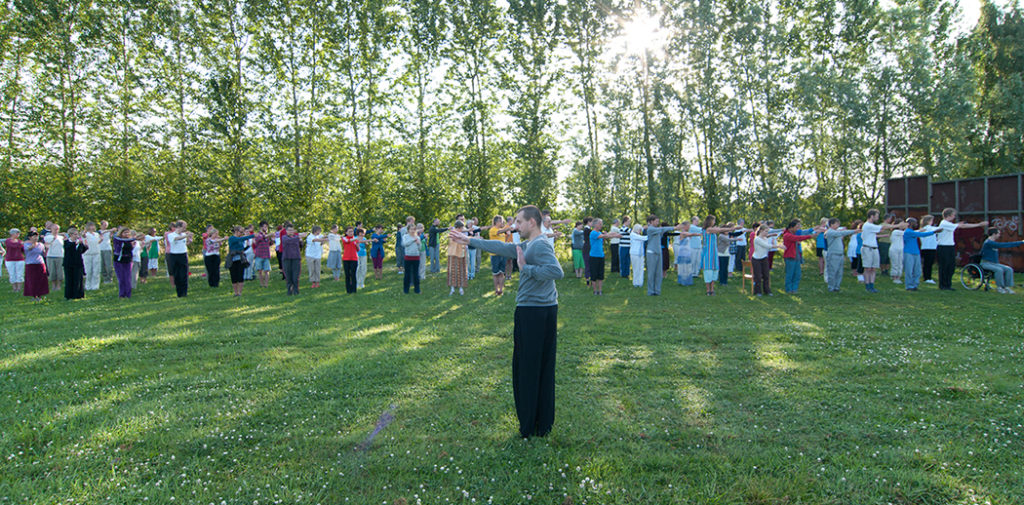 Qigong training outdoors in the sun